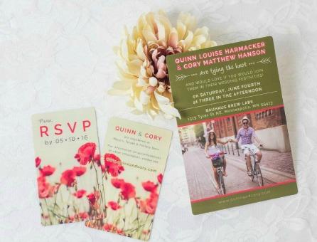 Floral Wedding Invitations & RSVP cards