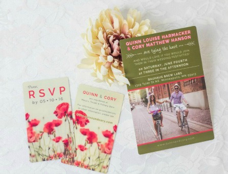 Floral Wedding Invitations & RSVP cards